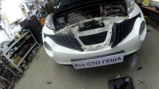 Снятие переднего бампера Nissan Juke