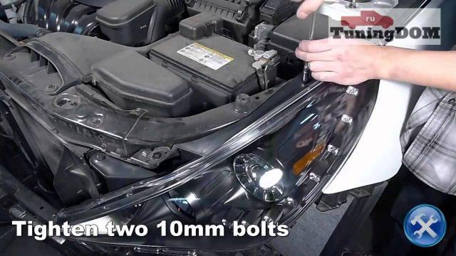 Снятие передних фар Hyundai Sonata