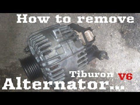 Снятие генератора переменного тока Hyundai Tiburon